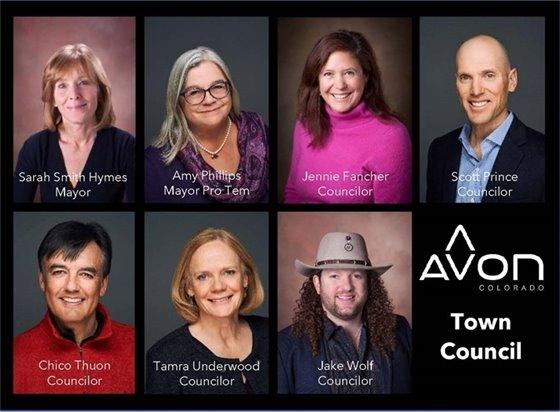 Head shots of Avon's seven-member Town Council