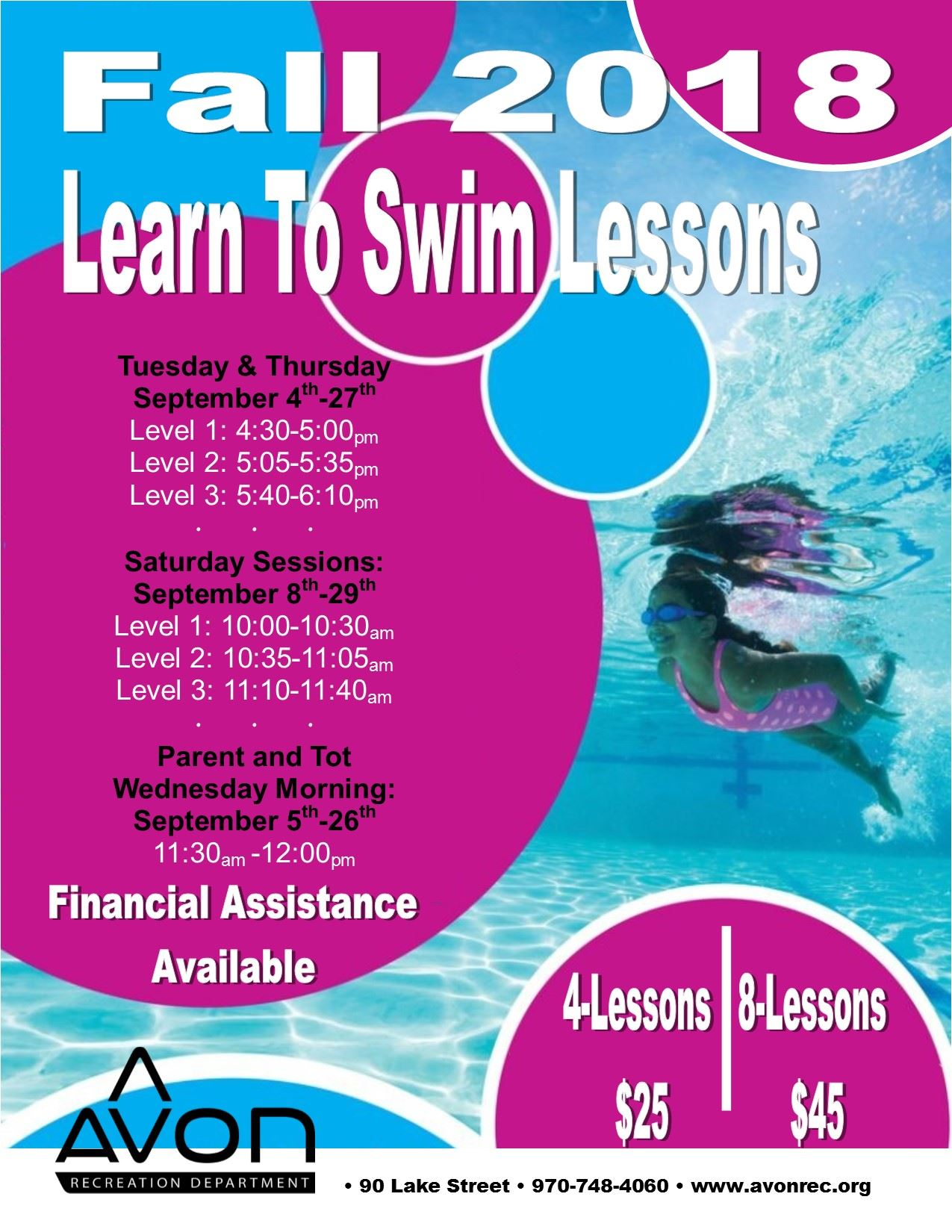 September 2018 Swim Lesson Flyer English