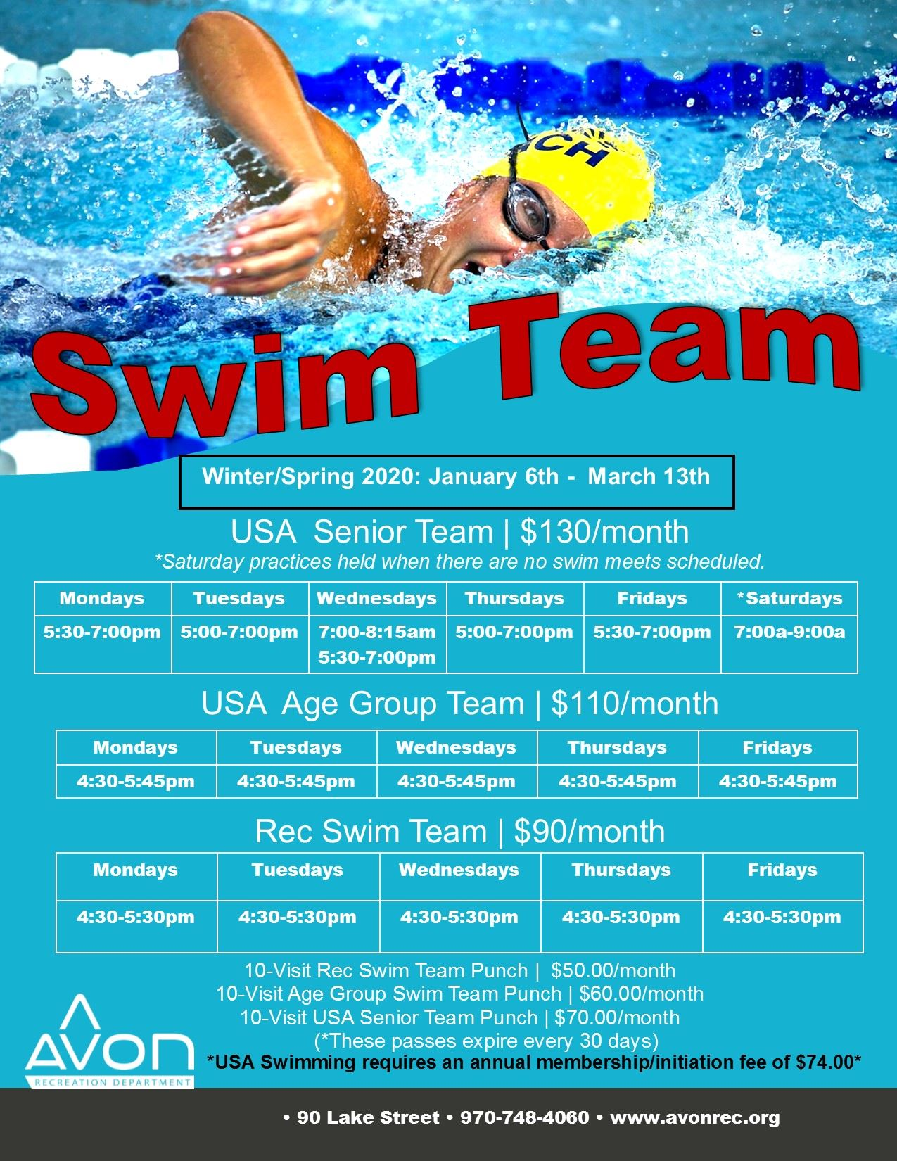 Swim Team Flyer Winter-Spring 2020
