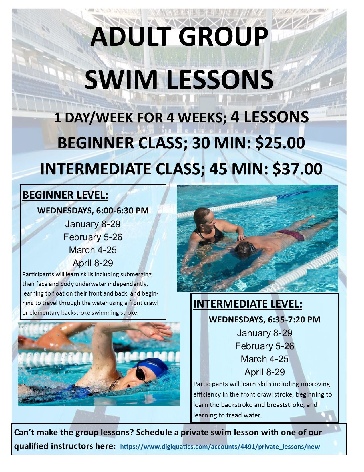 Adult Swim Lessons Flyer Winter 2020