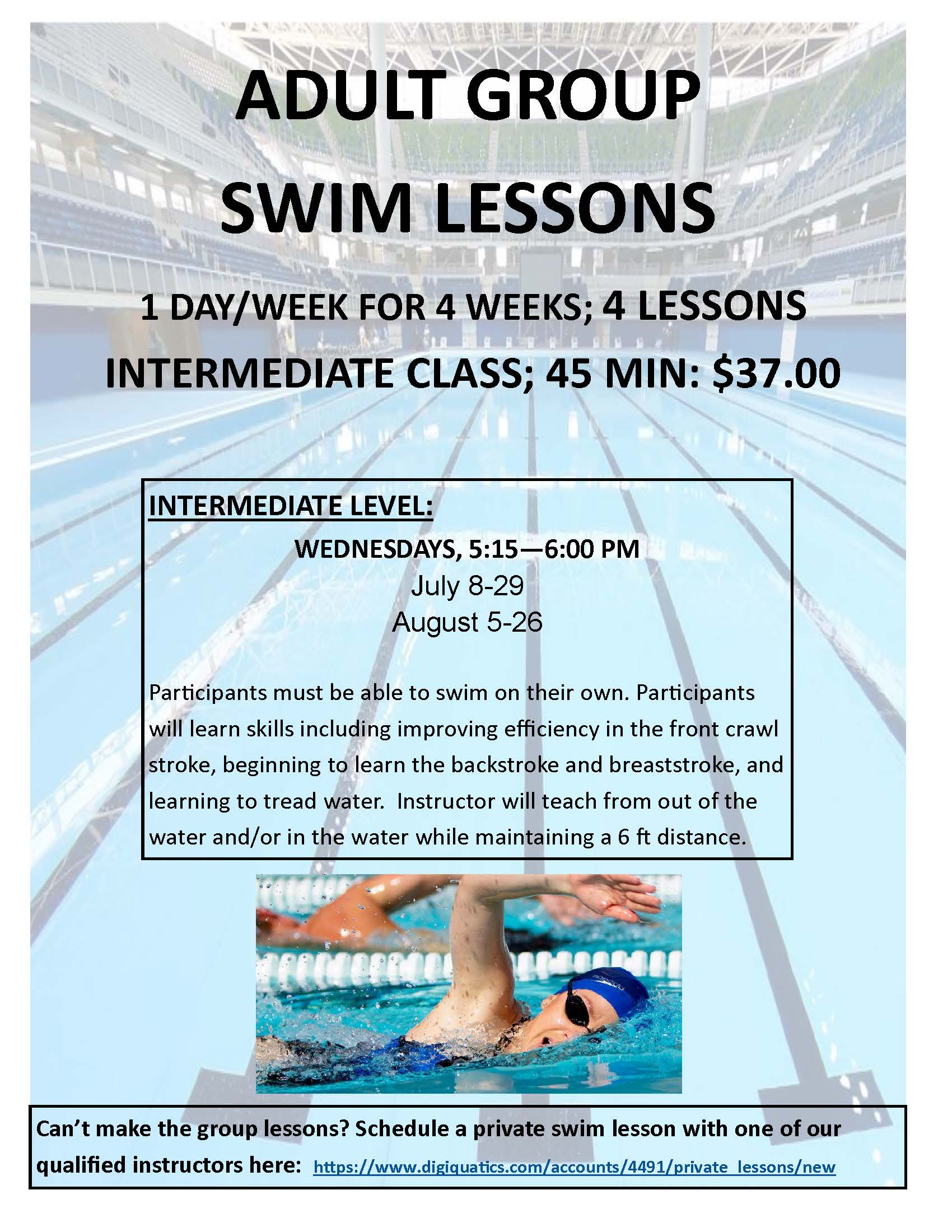 Adult Swim Lessons Flyer Summer 2020