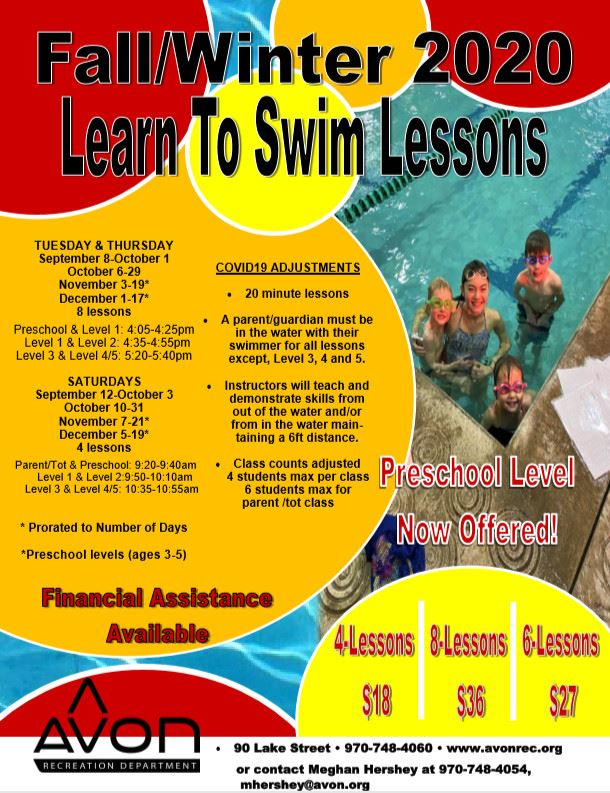 Fall-Winter 2020 Group Swim Lessons Flyer