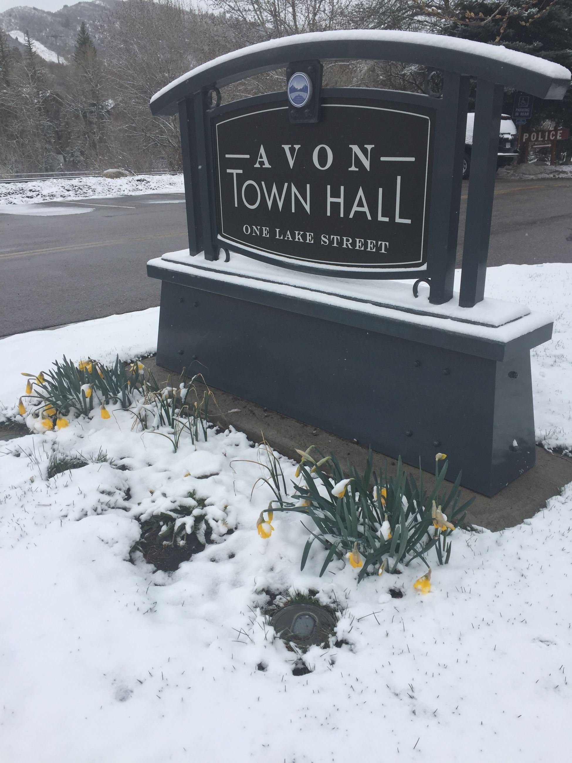 Snow Town Hall Sign
