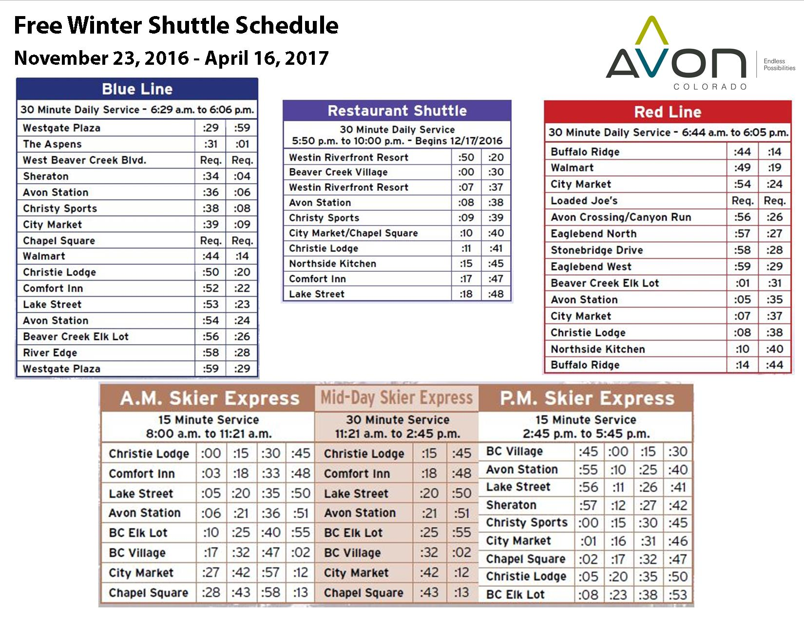TOA Winter Bus Schedule