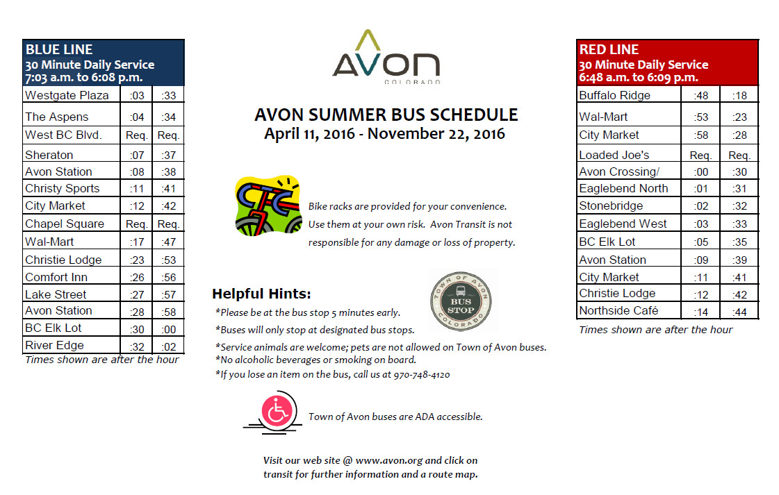 summer bus schedule